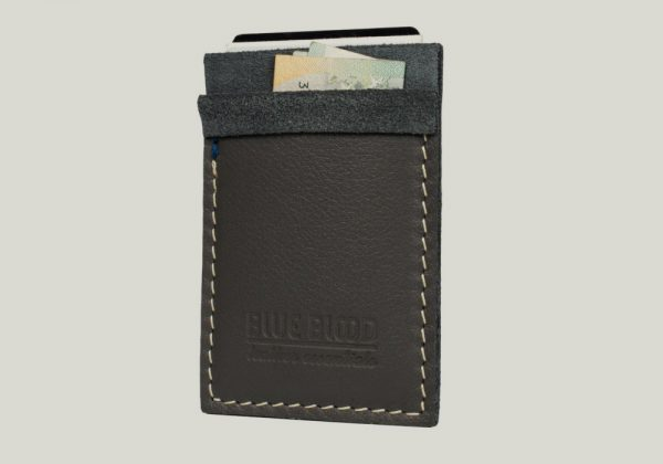 leather cardholder Kartenhalter gray grau
